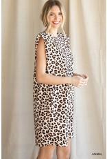 The Carli Shoulder Padded Leopard Dress