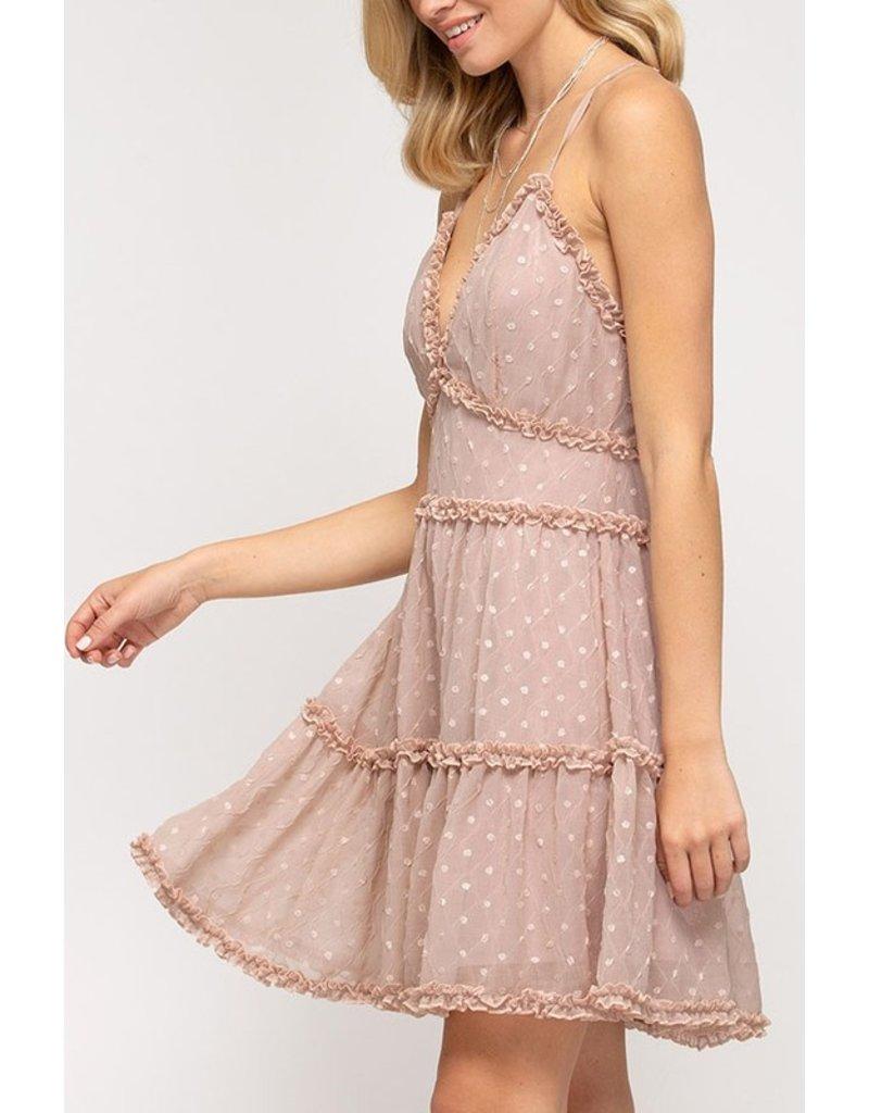 The Caroline Swiss Dot Tiered Dress