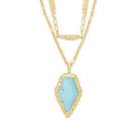 The Tessa Gold Multi Strand Necklace in Light Blue Magnesite