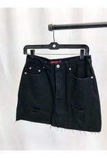 The Kylie Distressed Denim Skirt - Black