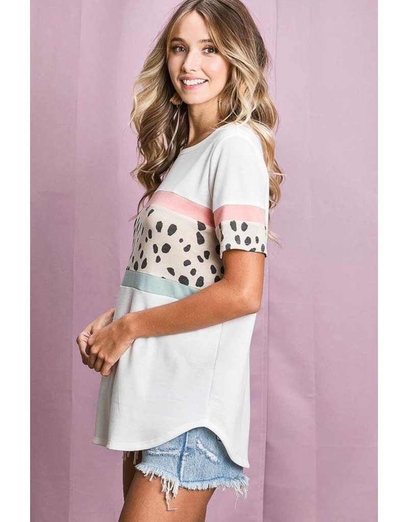 The Corrine Spotted Color Block Tee