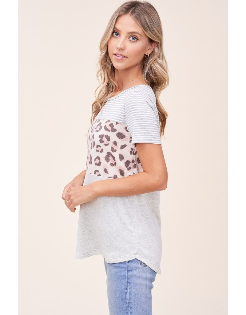 The Maria Leopard + Striped Color Block Tee