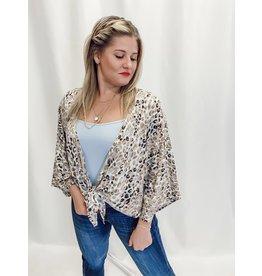 The Faye Leopard Front Tie Kimono