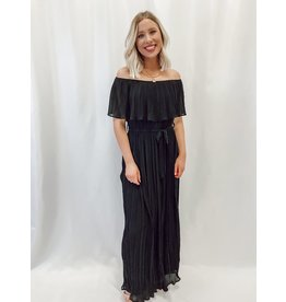 The Icon Off The Shoulder Pleated Maxi Dress