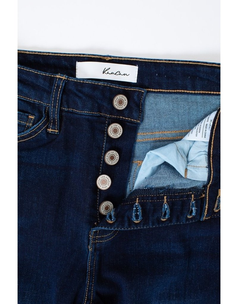 The High Rise Button Fly Frayed Hem Skinny