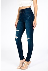 The Distressed Double Button Skinny