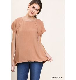 The Perry High Low Fringe Hem Top