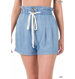 The Chambray Paper Bag Waist Shorts