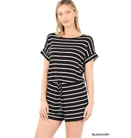 The Cozied Up Striped Romper