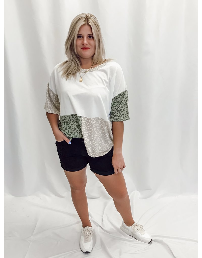 The Maggie Leopard Color Block Tee