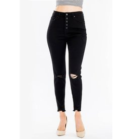 The Bonnie Distressed Button Fly Skinny