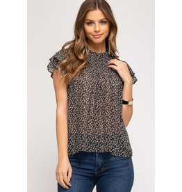 The Cecily Floral Flutter Sleeve Top