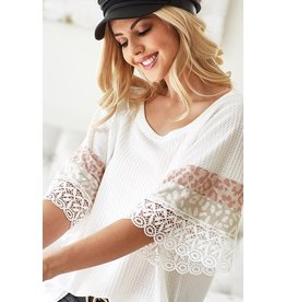 The Chrissy Leopard  + Lace Waffle Knit Top