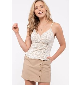 The Carley Button Front Leopard Cami