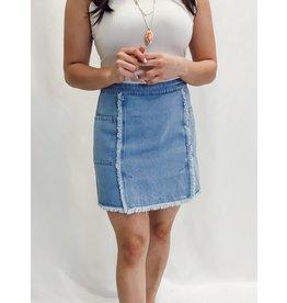 The Groovy Girl Frayed Denim Skirt