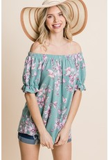 The Lovely In Floral Off The Shoulder Top