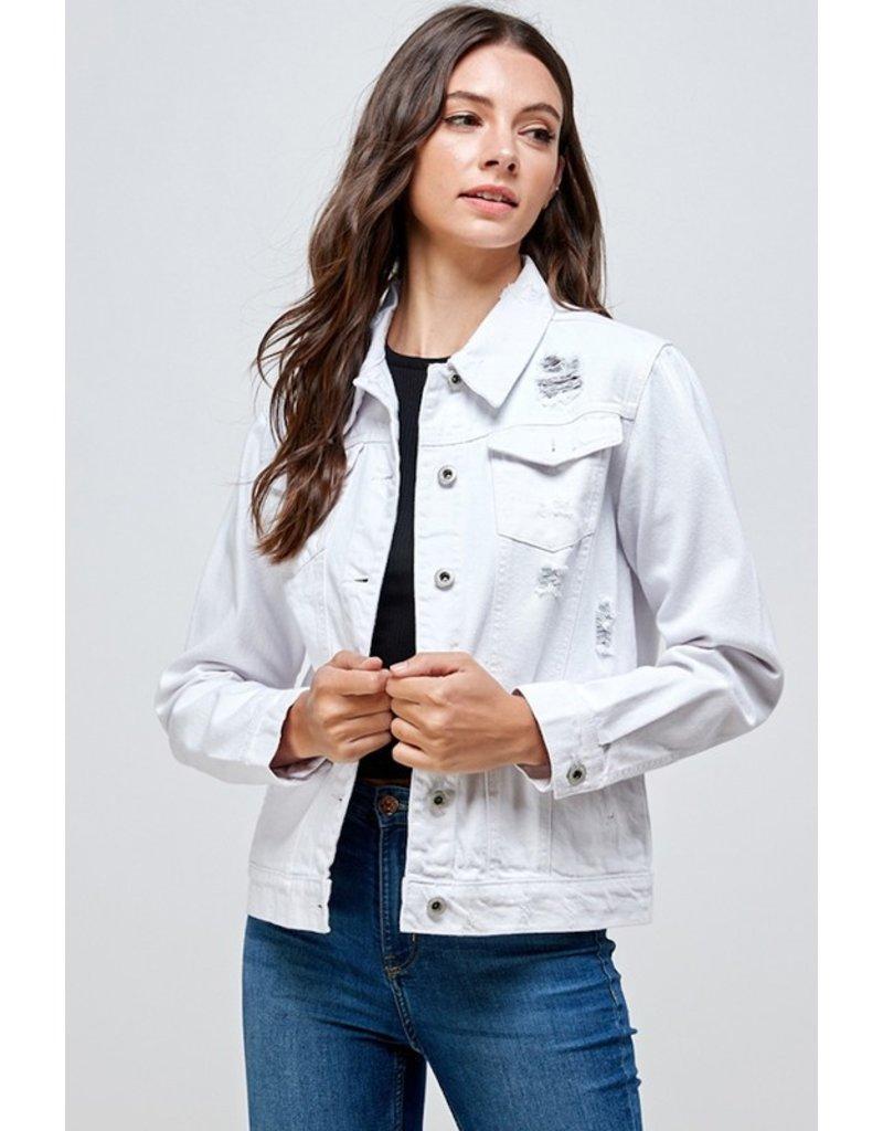 The Kennedy Distressed Denim Jacket - White