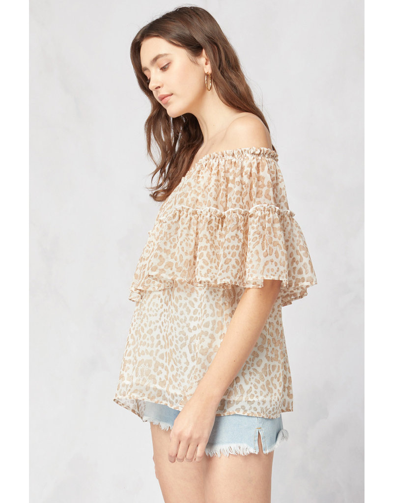 The Mazie Leopard Off The Shoulder Top