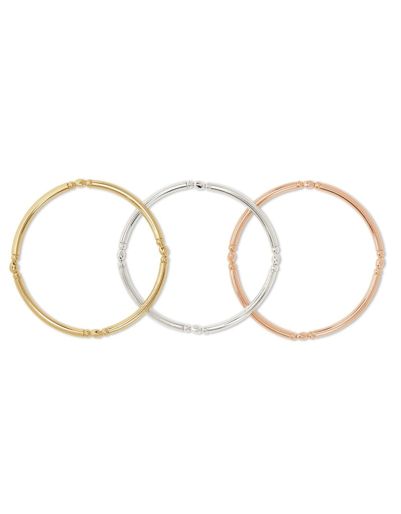 The Lori Stretch Bracelet Set Of 3 In Mixed Metal
