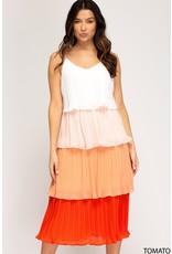 The Tequila Sunrise Color Block Midi Dress