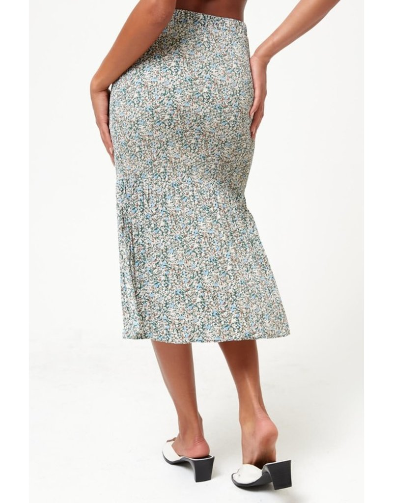 The Wren Floral Pleated Midi Skirt