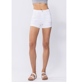 The Say The Word Distressed Denim Shorts - White