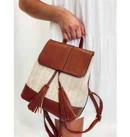 The Jillian Straw + Faux Leather Backpack