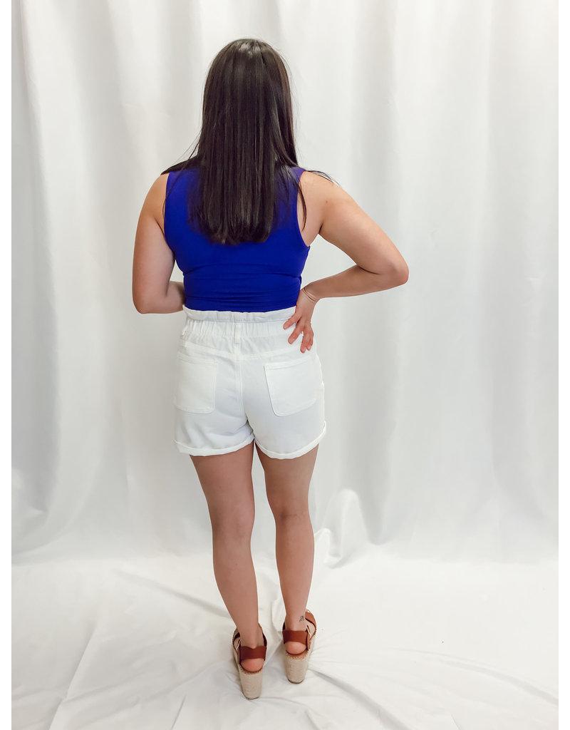 The Oceanside Paper Bag Waist Denim Shorts - White