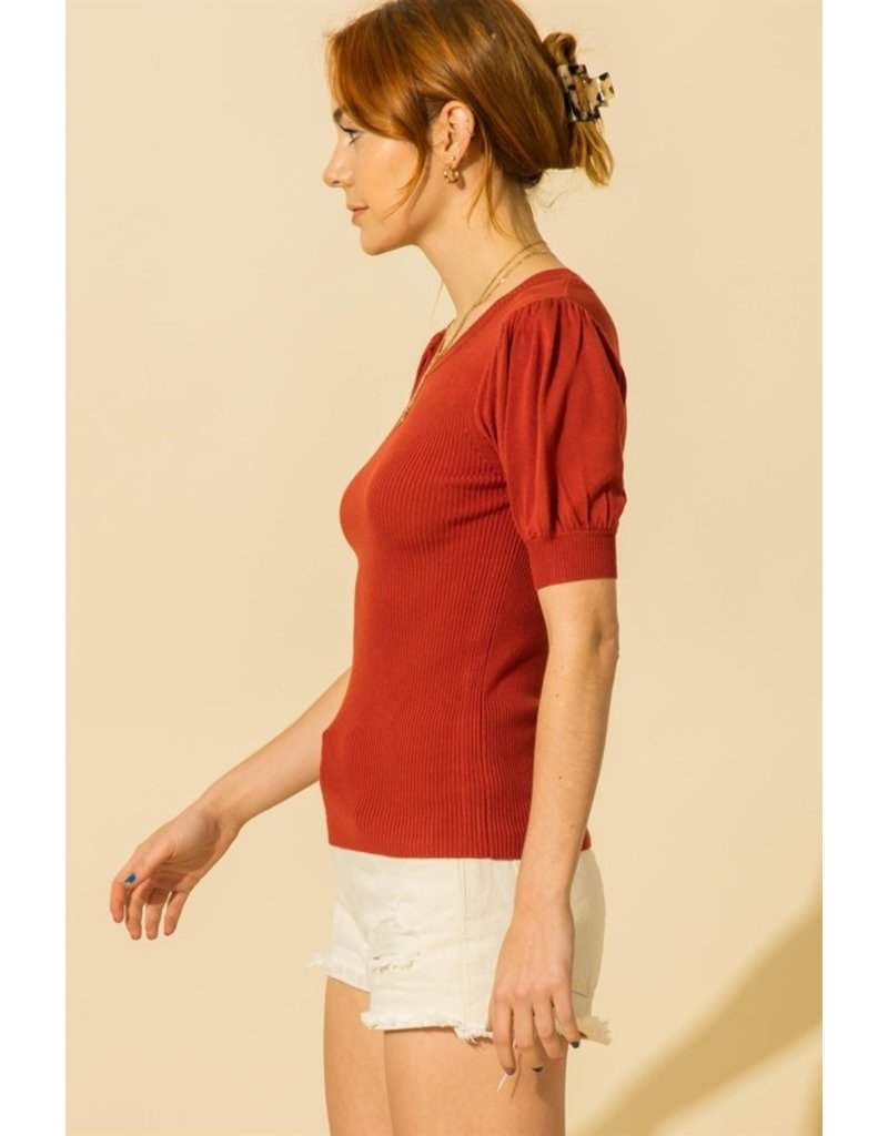 The Just Imagine Ribbed Puff Sleeve Top