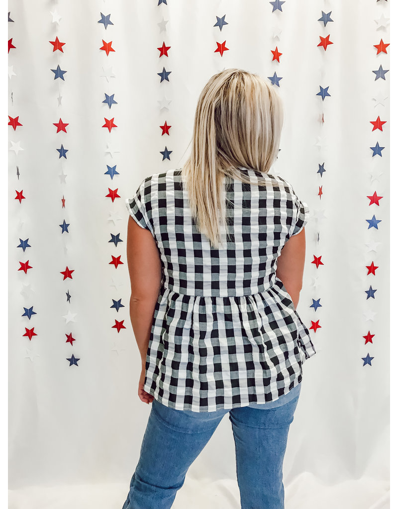 The Rosales Gingham Babydoll Top