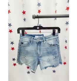 The Sunlit Raw Hem Denim Shorts