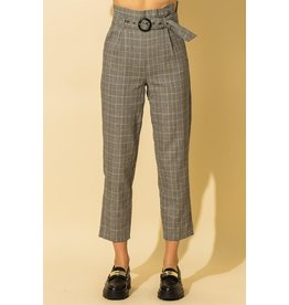 The Ezra Belted Plaid Pants