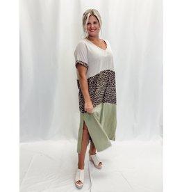 The Jasper Leopard Color Block Midi Dress