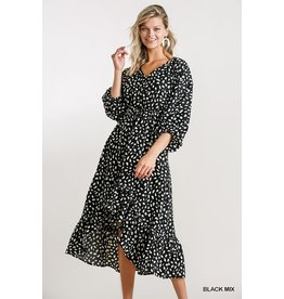 The Entrancing High Low Hem Spotted Midi Dress