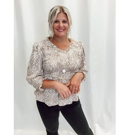 The Good Look Spotted Smocked Blouse