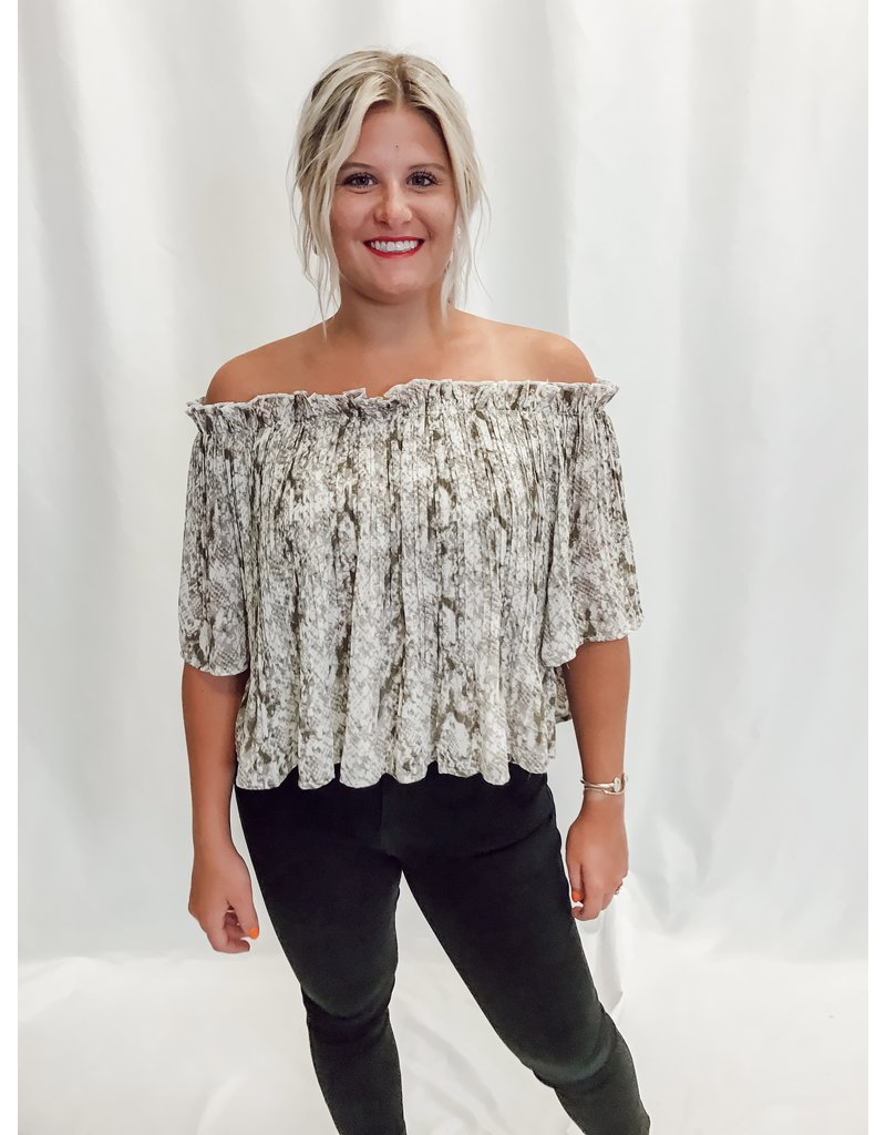 The Marnie Off The Shoulder Snake Print Top