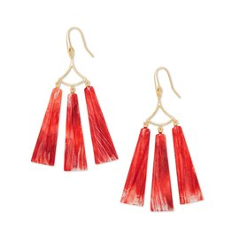 The Layton Gold Statement Earrings In Red Oyster
