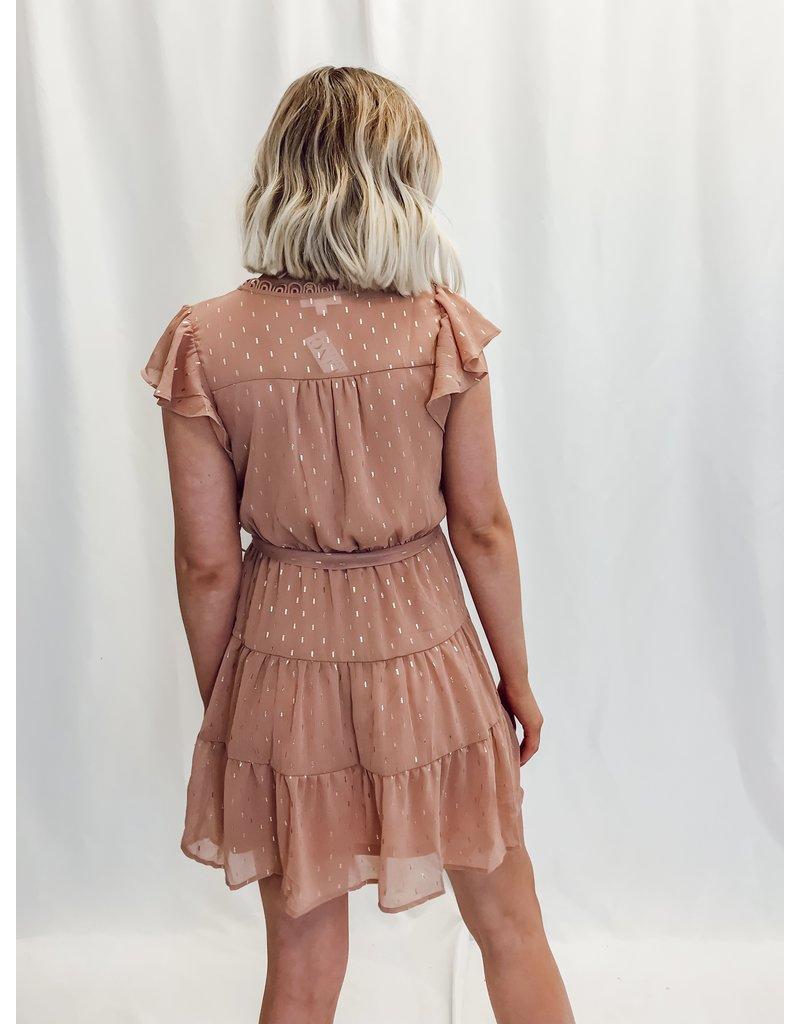 The Fawna Gold Flecks Tiered Dress