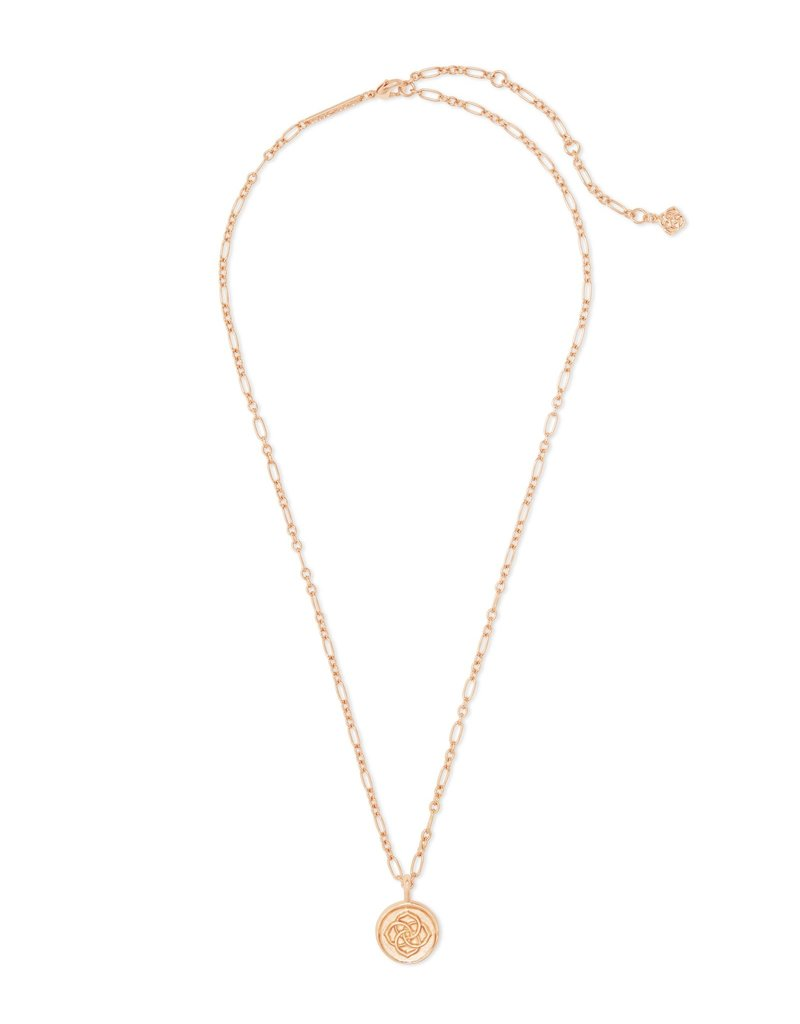 Dira Coin Pendant Necklace in Rose Gold