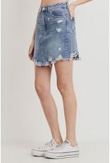 The Leelee Distressed Denim Skirt