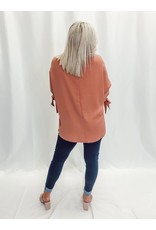 The Let This Be Satin Bow Sleeve Blouse