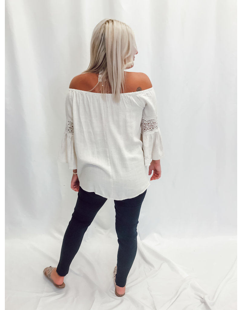 The Gleam Off The Shoulder Linen Top