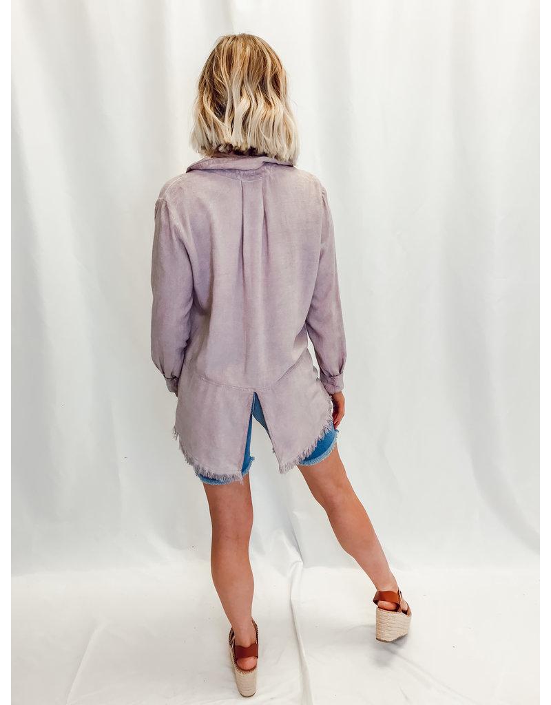 The Darlene Frayed Hem Linen Button Down