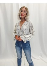 The Vineyard Stroll Back Tie Floral Cropped Blouse