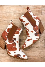 The Taylor Cow Print Booties