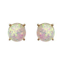 Glitter Stud Round Earrings