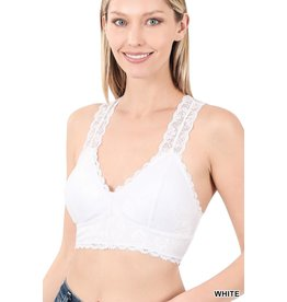The Kinslee Padded Lace Bralette - White