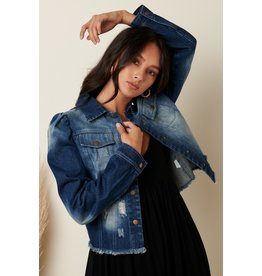 The Kelli Puff Shoulder Denim Jacket