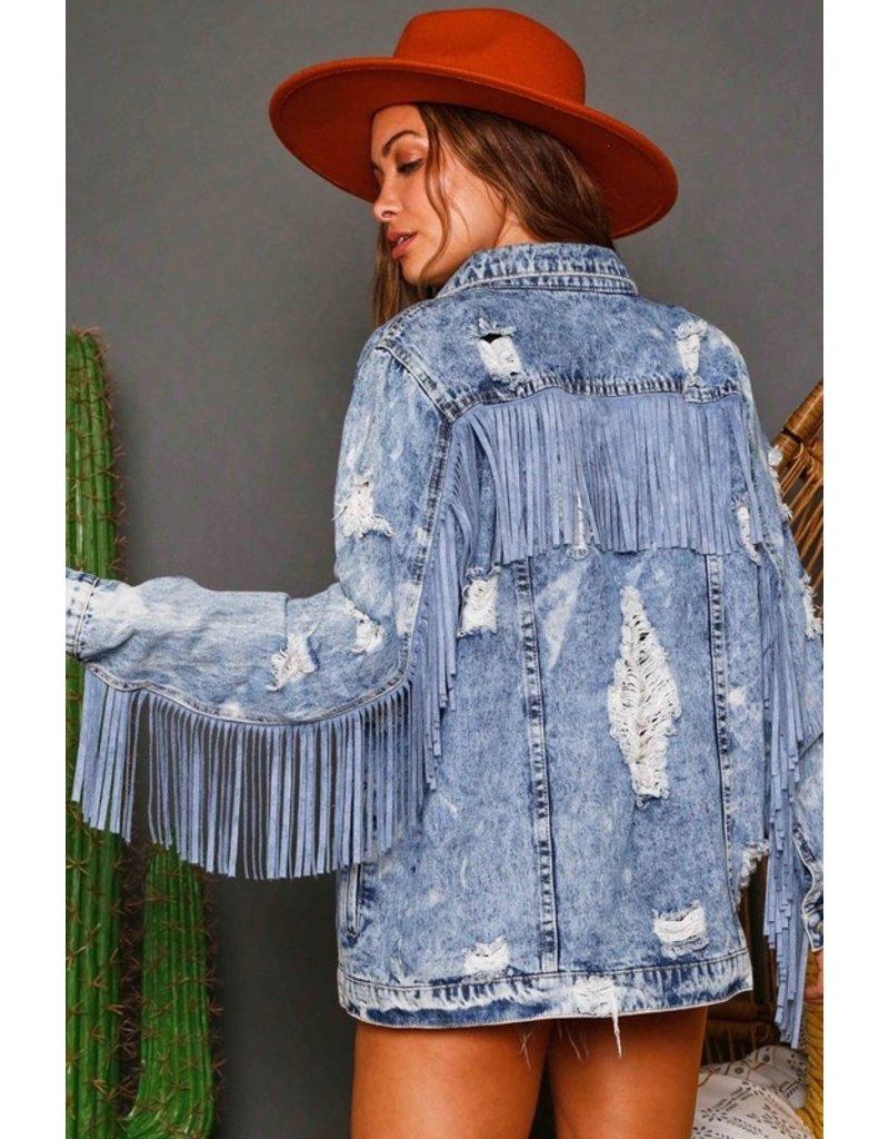 The Layne Distressed Fringe Denim Jacket