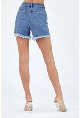 The Novella Distressed Hem Denim Shorts